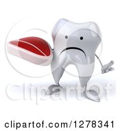 Clipart Of A 3d Unhappy Tooth Character Shrugging And Holding A Steak Royalty Free Illustration