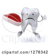 Clipart Of A 3d Unhappy Tooth Character Jumping And Holding A Steak Royalty Free Illustration