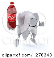 Clipart Of A 3d Happy Tooth Character Facing Right Jumping And Holding A Soda Bottle Royalty Free Illustration