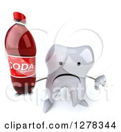 Clipart Of A 3d Unhappy Tooth Character Holding Up A Soda Bottle And A Thumb Down Royalty Free Illustration