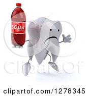 Clipart Of A 3d Unhappy Tooth Character Facing Right Jumping And Holding A Soda Bottle Royalty Free Illustration
