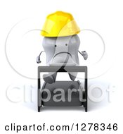 Clipart Of A 3d Unhappy Contractor Tooth Character Running On A Treadmill Royalty Free Illustration
