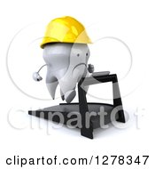 Clipart Of A 3d Unhappy Contractor Tooth Character Running On A Treadmill 2 Royalty Free Illustration