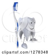 Clipart Of A 3d Happy Tooth Character Facing Right And Holding A Blue And White Toothbrush Royalty Free Illustration