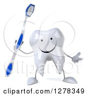 Clipart Of A 3d Happy Tooth Character Gesturing And Holding A Blue And White Toothbrush Royalty Free Illustration