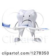 Clipart Of A 3d Unhappy Tooth Character Holding A Toothbrush Royalty Free Illustration