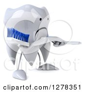 Clipart Of A 3d Unhappy Tooth Character Facing Right And Holding A Blue And White Toothbrush Royalty Free Illustration