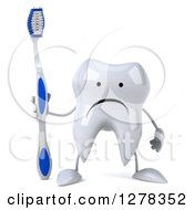 Clipart Of A 3d Unhappy Tooth Character Holding A Blue And White Toothbrush Royalty Free Illustration