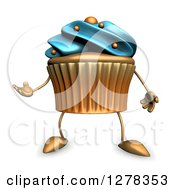 3d Acrylic Blue Frosted Cupcake Character Presenting