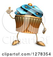 3d Acrylic Blue Frosted Cupcake Character Holding Up A Finger