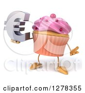 3d Pink Frosted Cupcake Character Shrugging And Holding A Euro Symbol