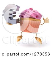 3d Pink Frosted Cupcake Character Jumping And Holding A Euro Symbol