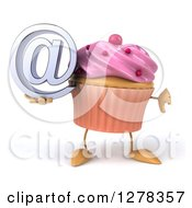 3d Pink Frosted Cupcake Character Holding An Email Arobase And Thumb Down