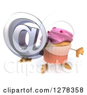 3d Pink Frosted Cupcake Character Holding Up An Email Arobase And Thumb Down