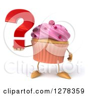 3d Pink Frosted Cupcake Character Holding A Question Mark
