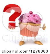 3d Pink Frosted Cupcake Character Holding A Question Mark And Thumb Up