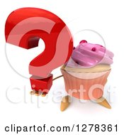 3d Pink Frosted Cupcake Character Holding Up A Question Mark