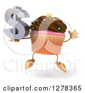 Clipart Of A 3d Chocolate Frosted Cupcake Character Jumping With A Dollar Symbol Royalty Free Illustration