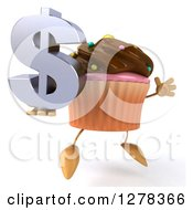 Clipart Of A 3d Chocolate Frosted Cupcake Character Facing Right And Jumping With A Dollar Symbol Royalty Free Illustration