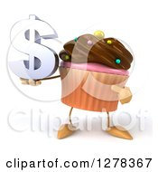 Clipart Of A 3d Chocolate Frosted Cupcake Character Holding And Pointing To A Dollar Symbol Royalty Free Illustration