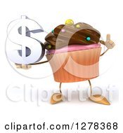 Clipart Of A 3d Chocolate Frosted Cupcake Character Holding Up A Finger And A Dollar Symbol Royalty Free Illustration