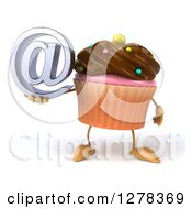 Clipart Of A 3d Chocolate Frosted Cupcake Character Holding An Email Arobase Symbol Royalty Free Illustration