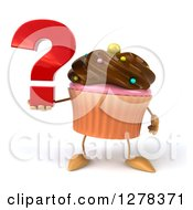 Clipart Of A 3d Chocolate Frosted Cupcake Character Holding A Question Mark Royalty Free Illustration