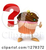 Clipart Of A 3d Chocolate Frosted Cupcake Character Holding A Thumb Up And A Question Mark Royalty Free Illustration