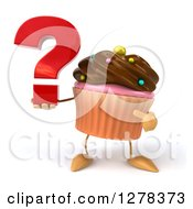 Clipart Of A 3d Chocolate Frosted Cupcake Character Holding And Pointing To A Question Mark Royalty Free Illustration