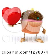 3d Chocolate Frosted Cupcake Character Holding A Heart