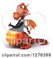 Clipart Of A 3d Red Business Dragon Facing Left And Holding A Thumb Up Royalty Free Illustration