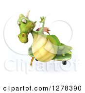 Clipart Of A 3d Green Dragon Jumping And Skateboarding Royalty Free Illustration