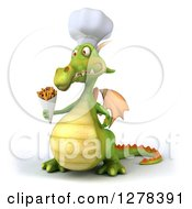Clipart Of A 3d Green Chef Dragon Facing Slightly Left And Holding French Fries Royalty Free Illustration