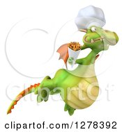 Clipart Of A 3d Green Chef Dragon Flying To The Right And Holding French Fries Royalty Free Illustration