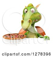 Clipart Of A 3d Green Dragon Holding A Pizza Over A Sign 2 Royalty Free Illustration