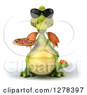 Clipart Of A 3d Green Dragon Wearing Sunglasses And Holding A Pizza Royalty Free Illustration