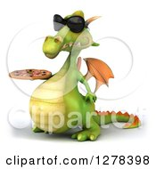 Clipart Of A 3d Green Dragon Wearing Sunglasses Facing Left And Holding A Pizza Royalty Free Illustration