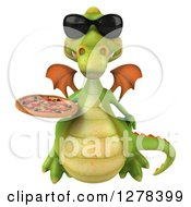 Clipart Of A 3d Green Dragon Wearing Sunglasses Looking Up And Holding A Pizza Royalty Free Illustration