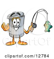 Garbage Can Mascot Cartoon Character Holding A Fish On A Fishing Pole by Toons4Biz