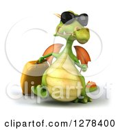 Clipart Of A 3d Green Travel Dragon Wearing Sunglasses And Walking With A Rolling Suitcase Royalty Free Illustration