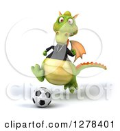 Clipart Of A 3d Green Business Dragon Playing Soccer Royalty Free Illustration