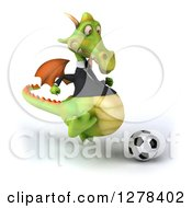 Clipart Of A 3d Green Business Dragon Playing Soccer 2 Royalty Free Illustration