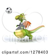 Clipart Of A 3d Green Business Dragon Playing Soccer 3 Royalty Free Illustration