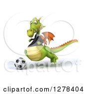 Clipart Of A 3d Green Business Dragon Playing Soccer 4 Royalty Free Illustration