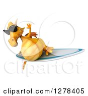 Clipart Of A 3d Yellow Dragon Wearing Sunglasses And Surfing Royalty Free Illustration