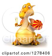 Clipart Of A 3d Yellow Dragon Holding Champagne And A Rocket Royalty Free Illustration by Julos