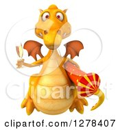 Clipart Of A 3d Yellow Dragon Holding Champagne And A Rocket 2 Royalty Free Illustration by Julos