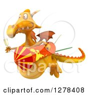 Clipart Of A 3d Yellow Dragon Flying To The Left And Holding Champagne And A Rocket Royalty Free Illustration by Julos