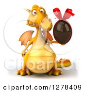 Clipart Of A 3d Yellow Dragon Holding A Chocolate Egg Royalty Free Illustration