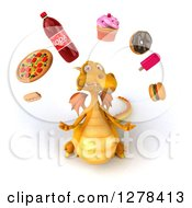 Clipart Of A 3d Yellow Dragon Looking Up And Juggling Junk Food Royalty Free Illustration
